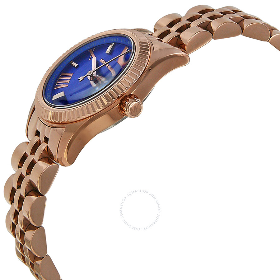 a121b6bcee30 ... Michael Kors Petite Lexington Blue Dial Rose Gold-tone Ladies Watch  MK3272 ...