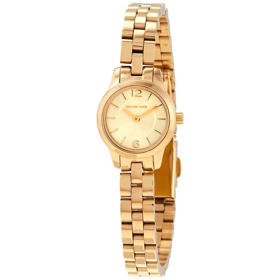 scarpe da corsa dal costo ragionevole molto conveniente Michael Kors Petite Runway Gold Dial Ladies Watch MK6592