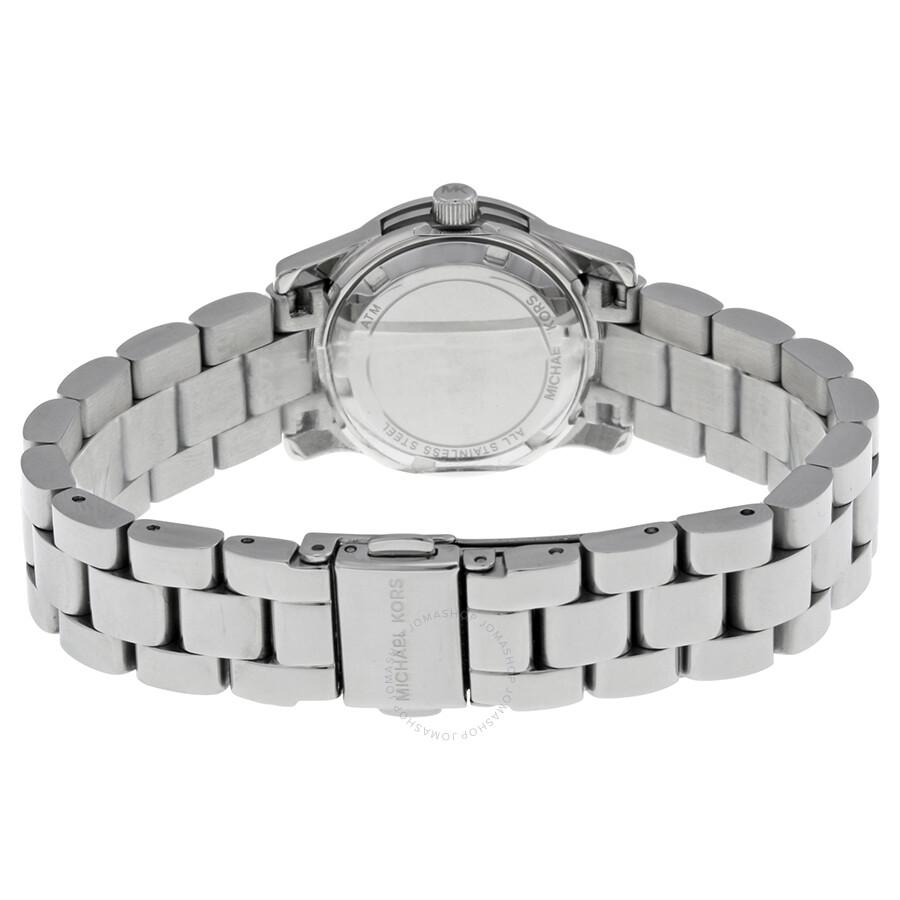 cf5e79040 ... Michael Kors Petite Runway Silver Pave Dial Stainless Steel Ladies Watch  MK3303 ...
