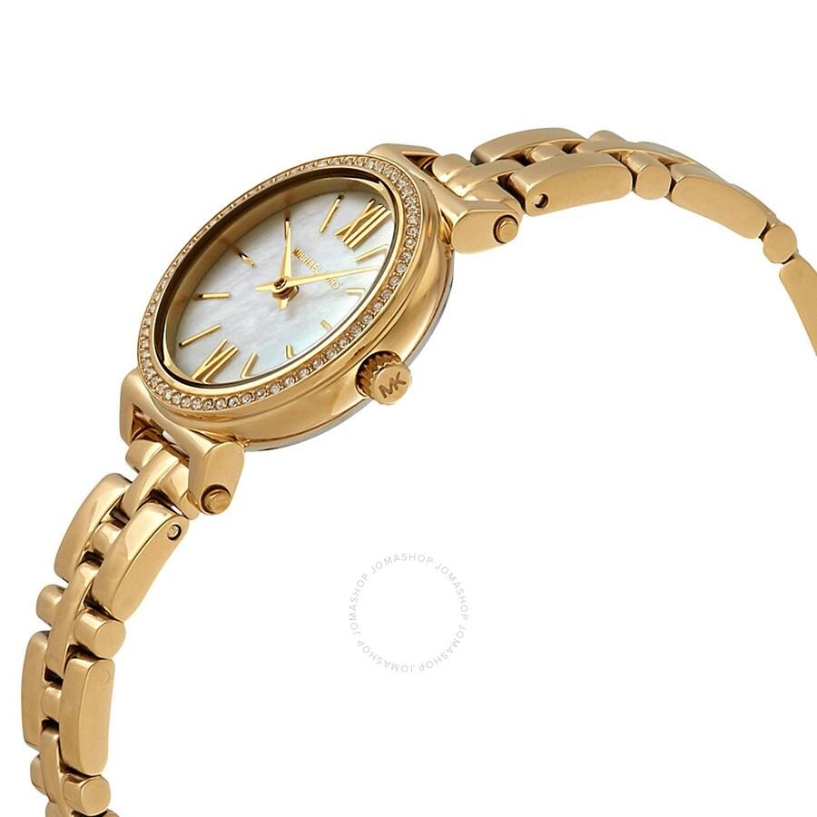 185c543c51ce ... Michael Kors Petite Sofie Crystal Mother of Pearl Dial Ladies Watch  MK3833 ...