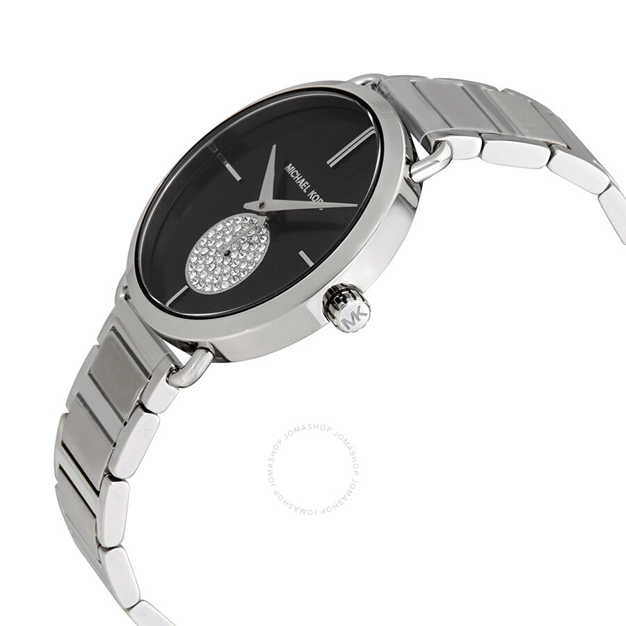 91c74851dd6d ... Michael Kors Portia Black Dial Stainless Steel Ladies Watch MK3638 ...