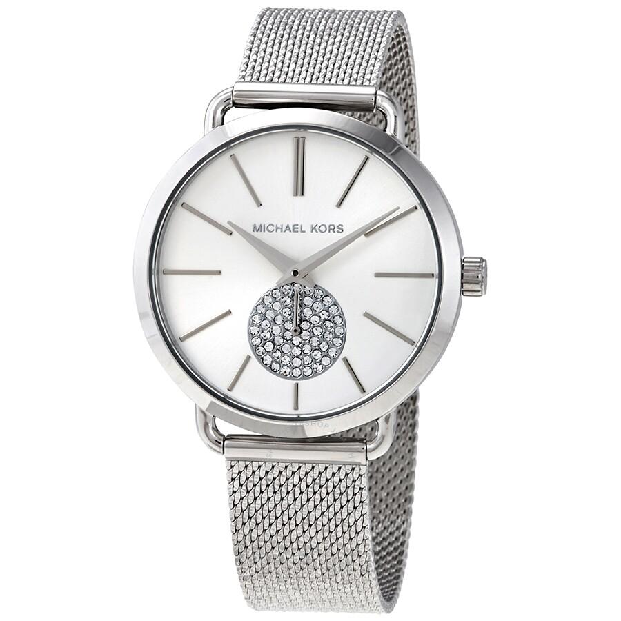 Michael Kors Portia Crystal Quartz Silver Dial Ladies Watch MK3843