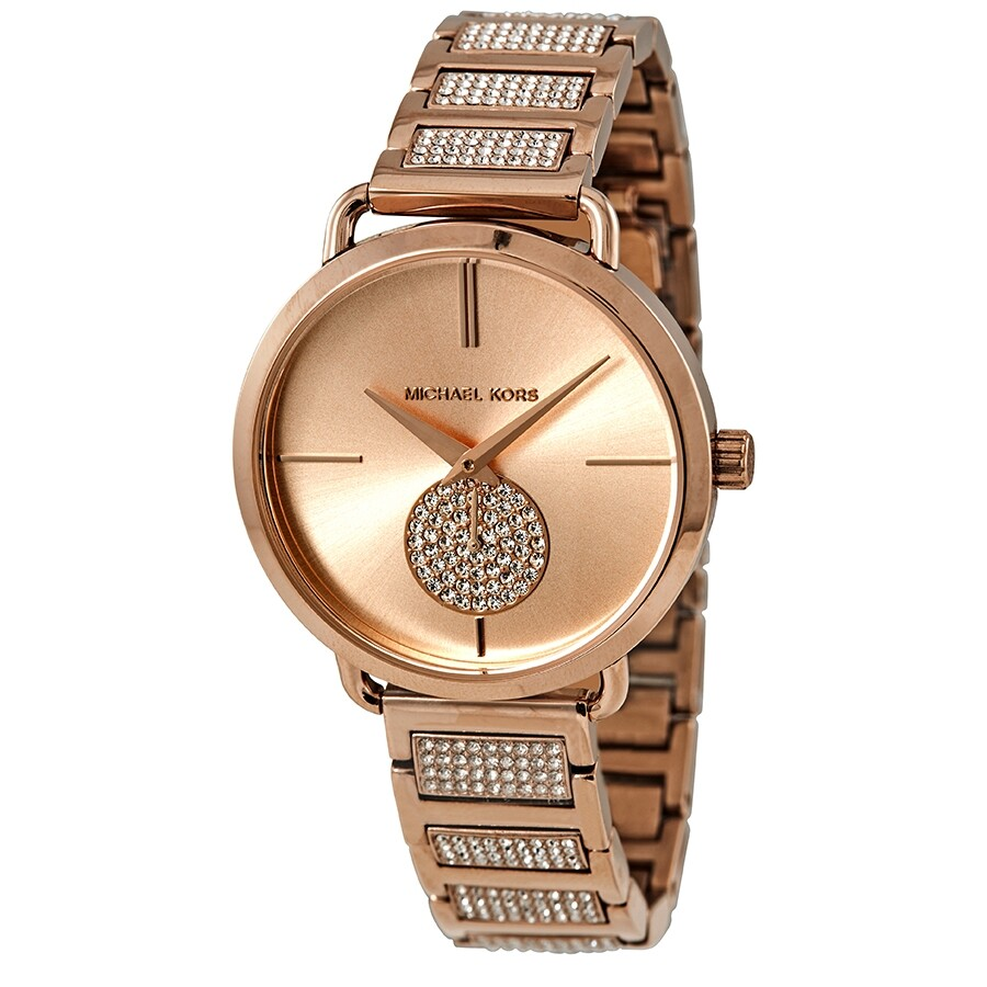 f30698bd854e Michael Kors Portia Crystal Rose Gold Dial Ladies Watch MK3853 ...