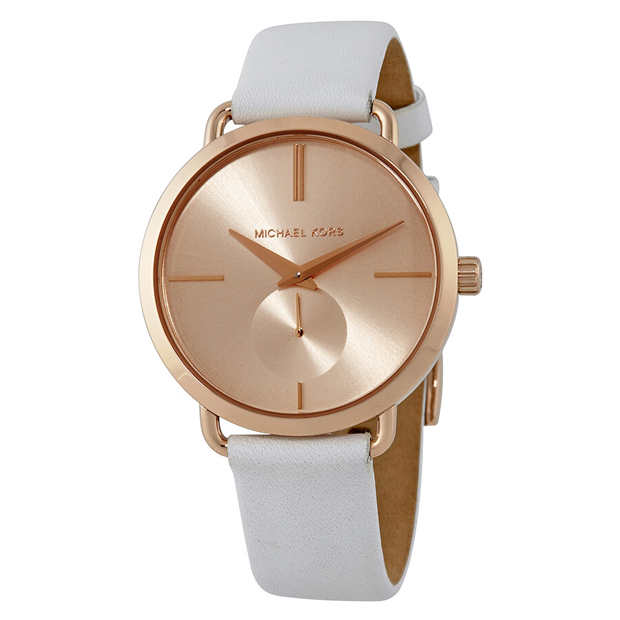 00285c3c517a Michael Kors Portia Rose Gold-tone Dial Ladies Leather Watch MK2660 ...