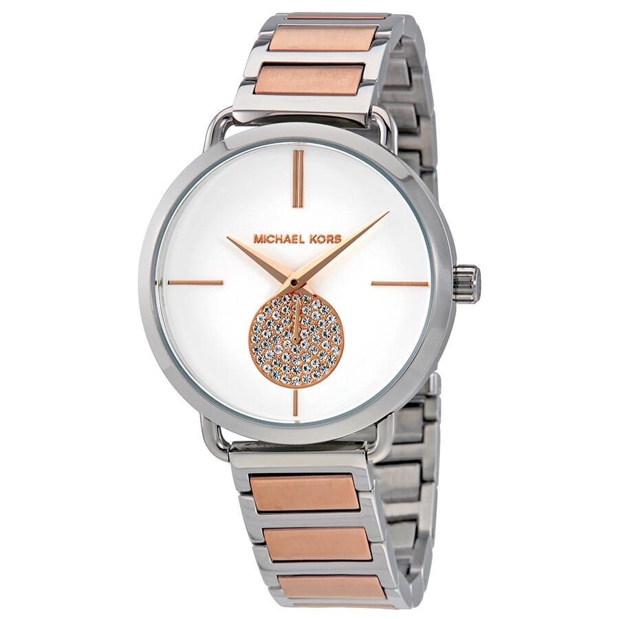 48831da0e58e Michael Kors Portia Silver Dial Two-tone Watch MK3709 - Michael Kors ...