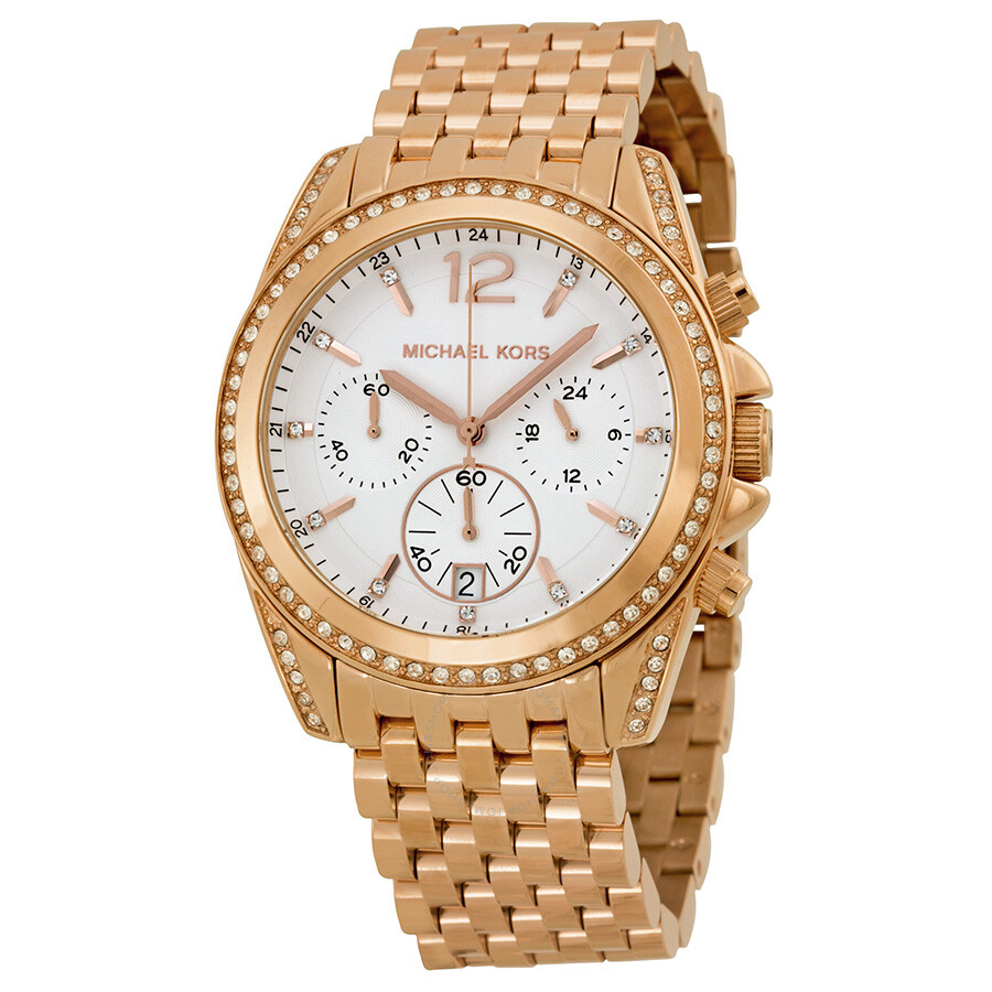 michael kors pressley chronograph white dial rose gold tone ladies watch mk5836 accelerator. Black Bedroom Furniture Sets. Home Design Ideas