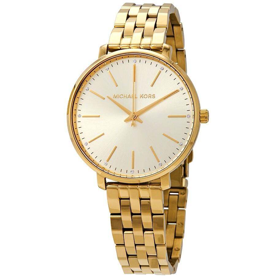 Michael Kors Pyper Crystal Gold Dial Ladies Watch MK3898