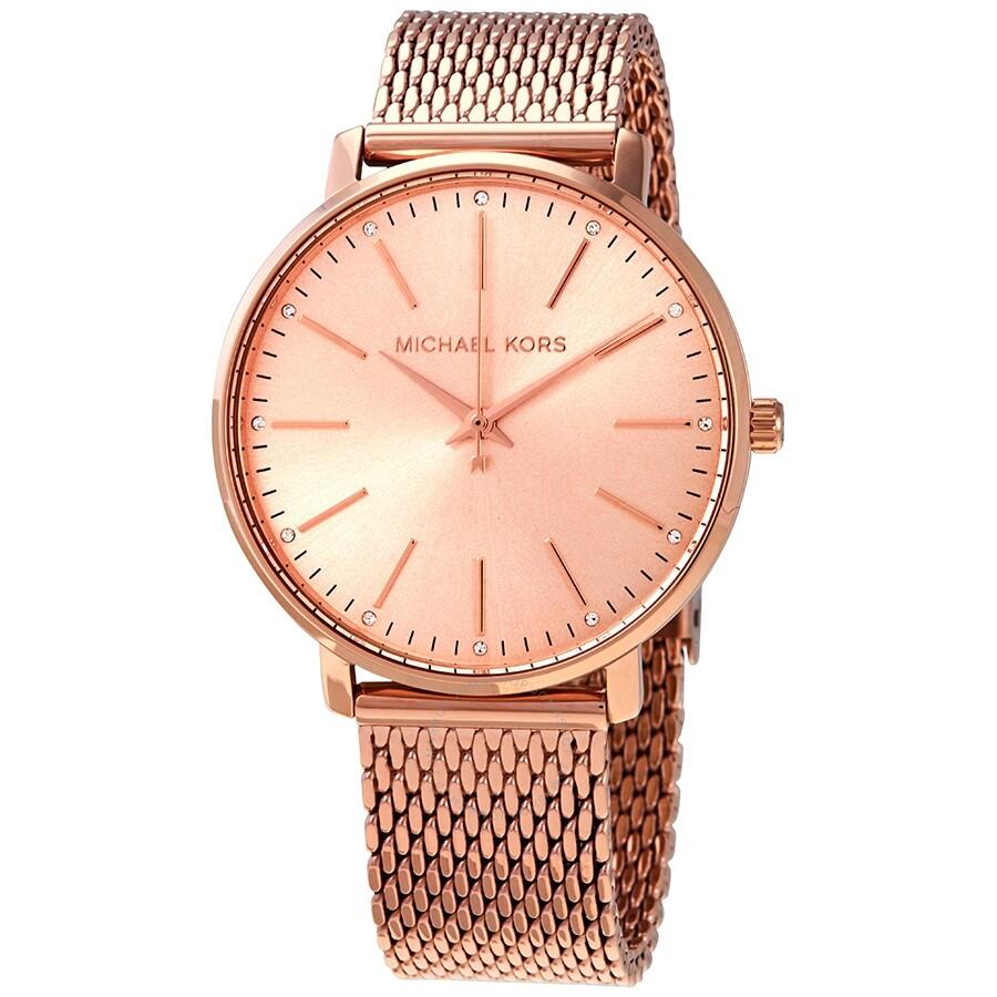 delicate colors shades of exquisite design Michael Kors Pyper Quartz Crystal Rose Gold Dial Ladies Watch MK4340