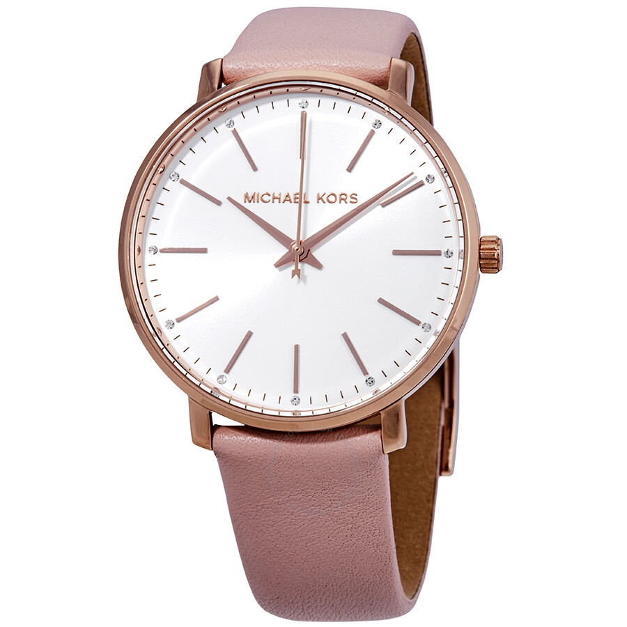 14d1f00998d5 Michael Kors Pyper White Dial Pink Leather Ladies Watch MK2741 ...