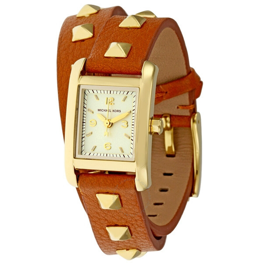 9cdd881105ca Michael Kors Quartz Champagne Dial Brown Studded Band Ladies Watch MK2230  ...