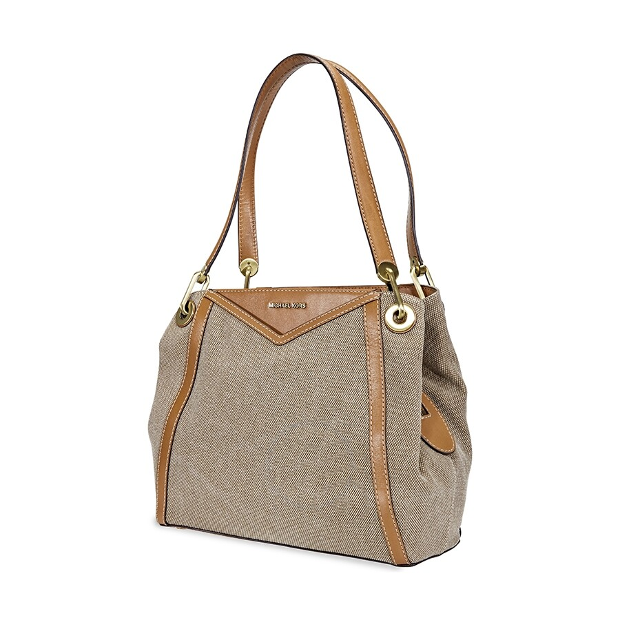 48aee46f87cd58 Michael Kors Raven Large Canvas Shoulder Tote- Natural Item No.  30H8BRXE7C-270
