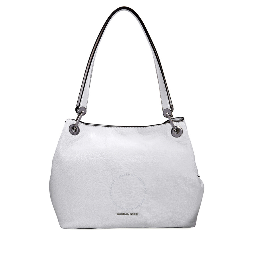 6b554326e63e5 Michael Kors Raven Large Pebbled Leather Shoulder Bag- Optic White Item No.  30H6SRXE3L-085