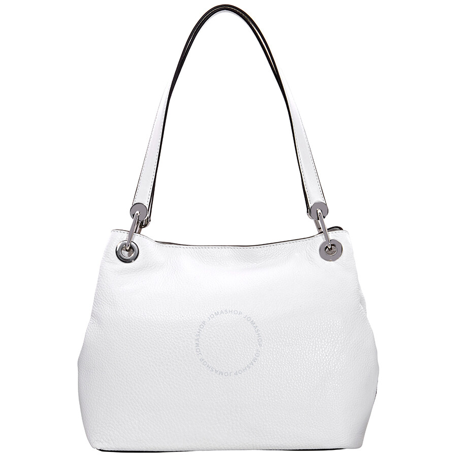 da2338dc1368 Michael Kors Raven Large Pebbled Leather Shoulder Bag- Optic White ...