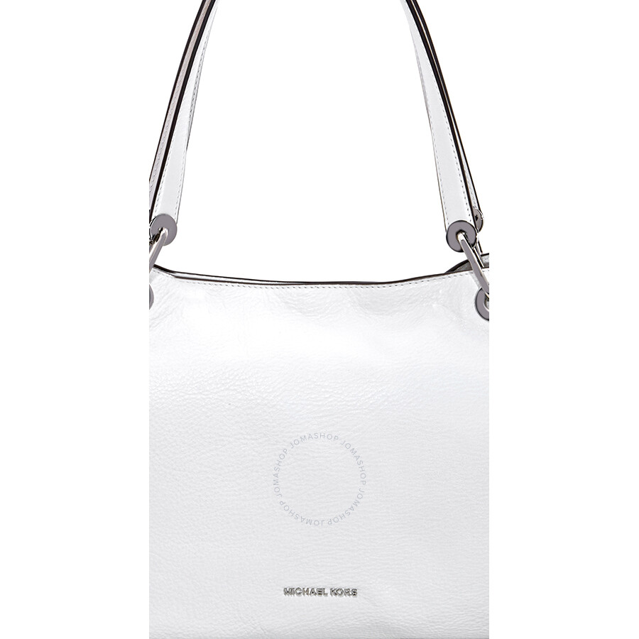 76900c6fc1424 Michael Kors Raven Large Pebbled Leather Shoulder Bag- Optic White ...