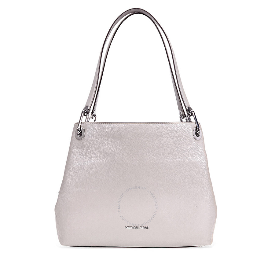 Michael Kors Raven Large Pebbled Leather Shoulder Bag- Pearl Grey ... 9cb823735bf22