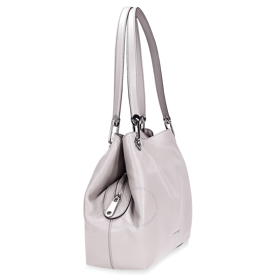 ... Michael Kors Raven Large Pebbled Leather Shoulder Bag- Pearl Grey ... fb8fc966e3106
