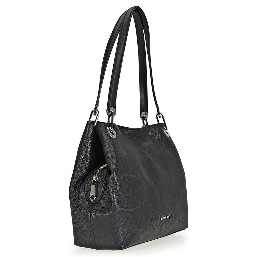77cae8a38f15 Michael Kors Raven Large Pebbled Leather Shoulder Bag - Raven ...