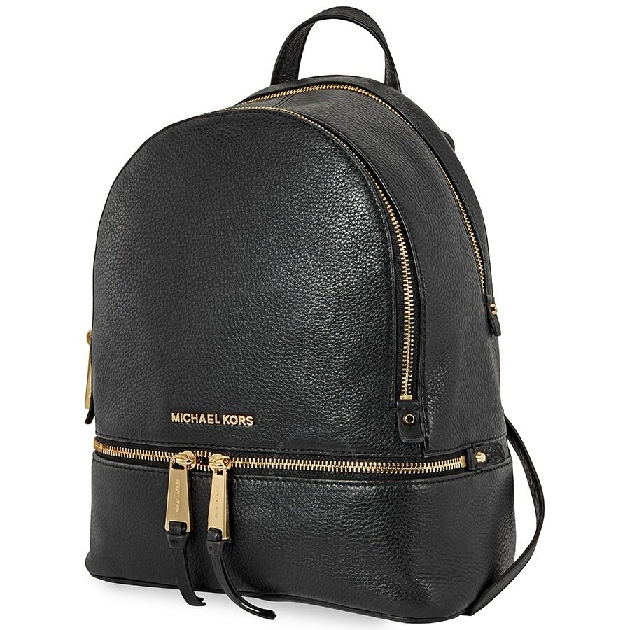 Michael Kors Rhea Medium Leather Backpack Black