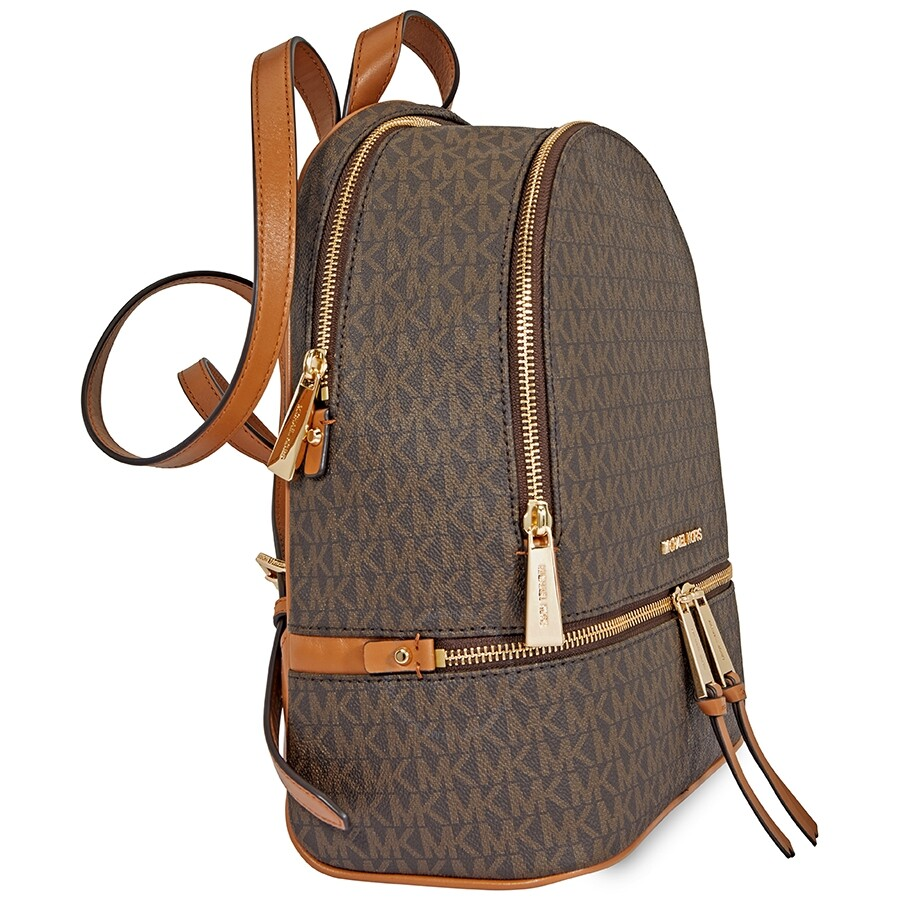 michael kors rhea medium logo print backpack brown rhea rh jomashop com