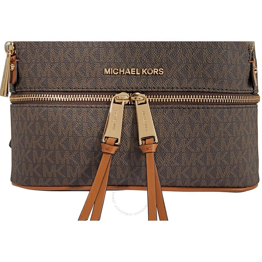 ff4665e41316 Michael Kors Rhea Medium Logo Print Backpack - Brown - Rhea ...
