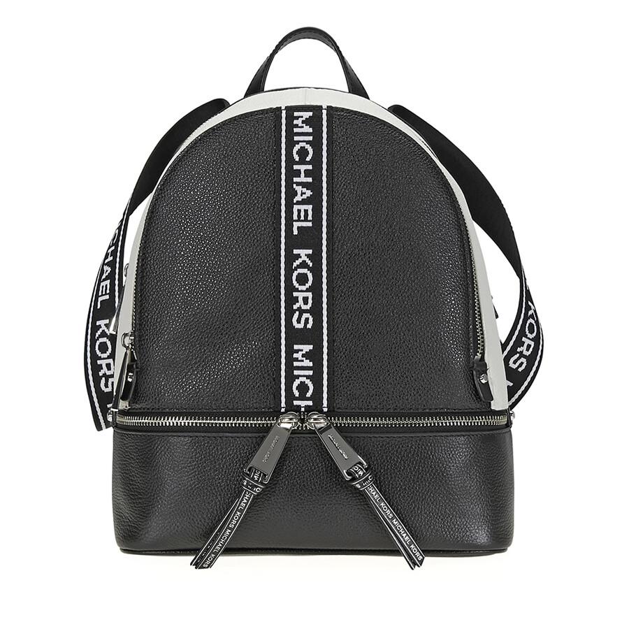 523bf946a1d1 Michael Kors Rhea Medium Pebbled Leather Backpack - Black   Optic White  Item No. 30H8SEZB6T-012