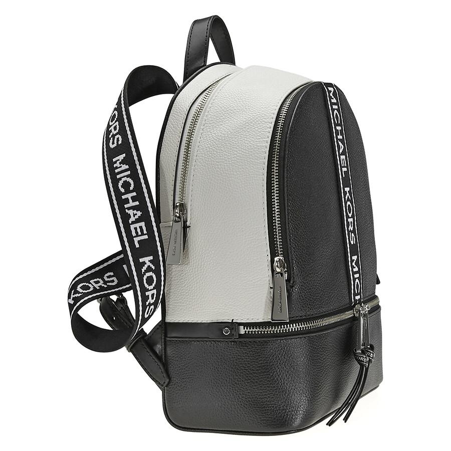 Michael Kors Rhea Medium Pebbled Leather Backpack - Black   Optic White 5246d21e6cd33
