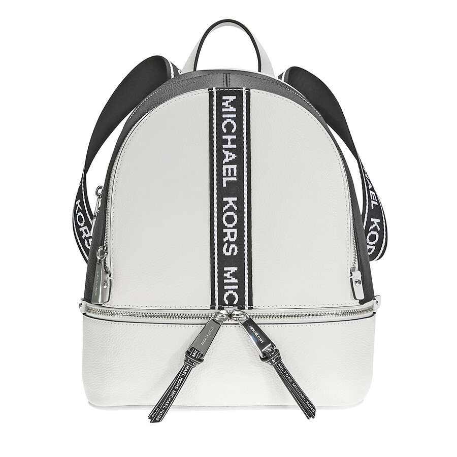 4dd6a6222c96 Michael Kors Rhea Medium Pebbled Leather Backpack - Optic White / Black  Item No. 30H8SEZB6T-089