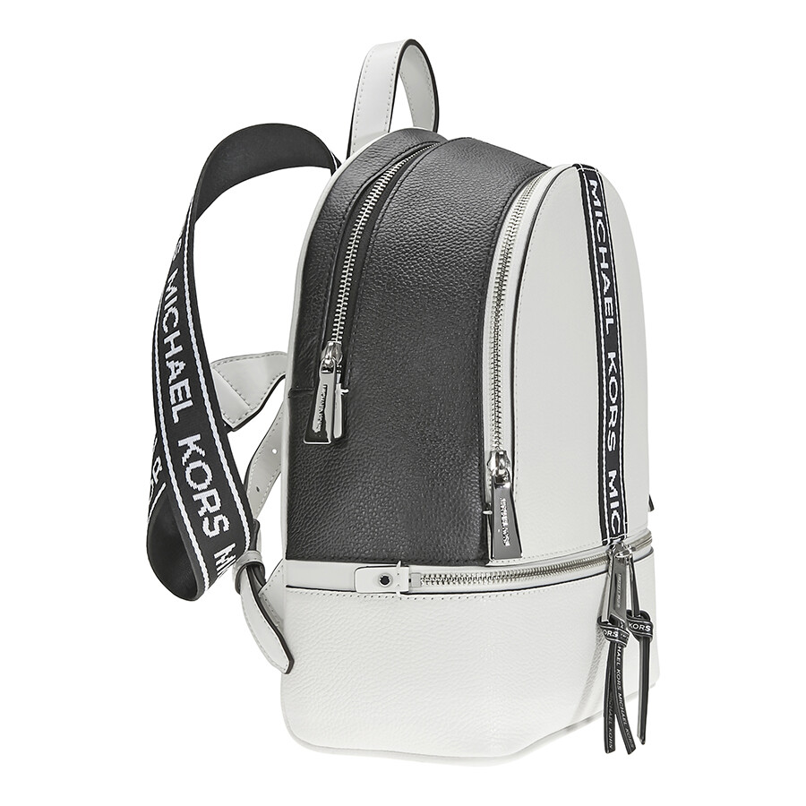 3677d314c342 Michael Kors Rhea Medium Pebbled Leather Backpack - Optic White   Black
