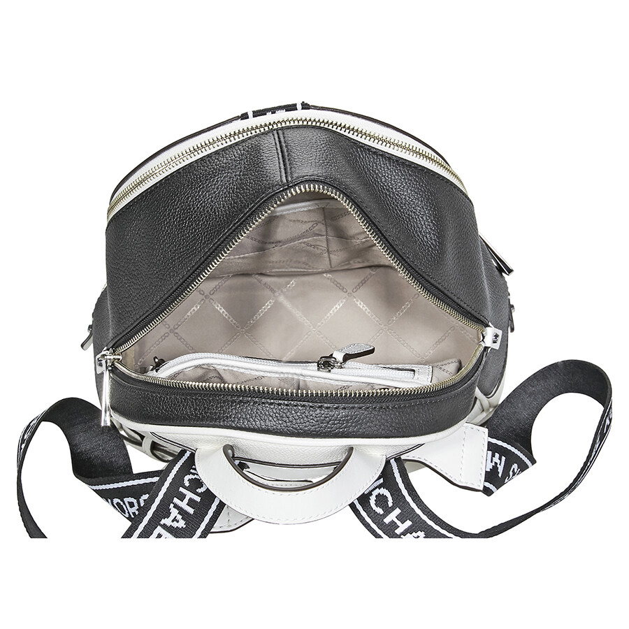 Michael Kors Rhea Medium Pebbled Leather Backpack - Optic White   Black a7262bff6e628