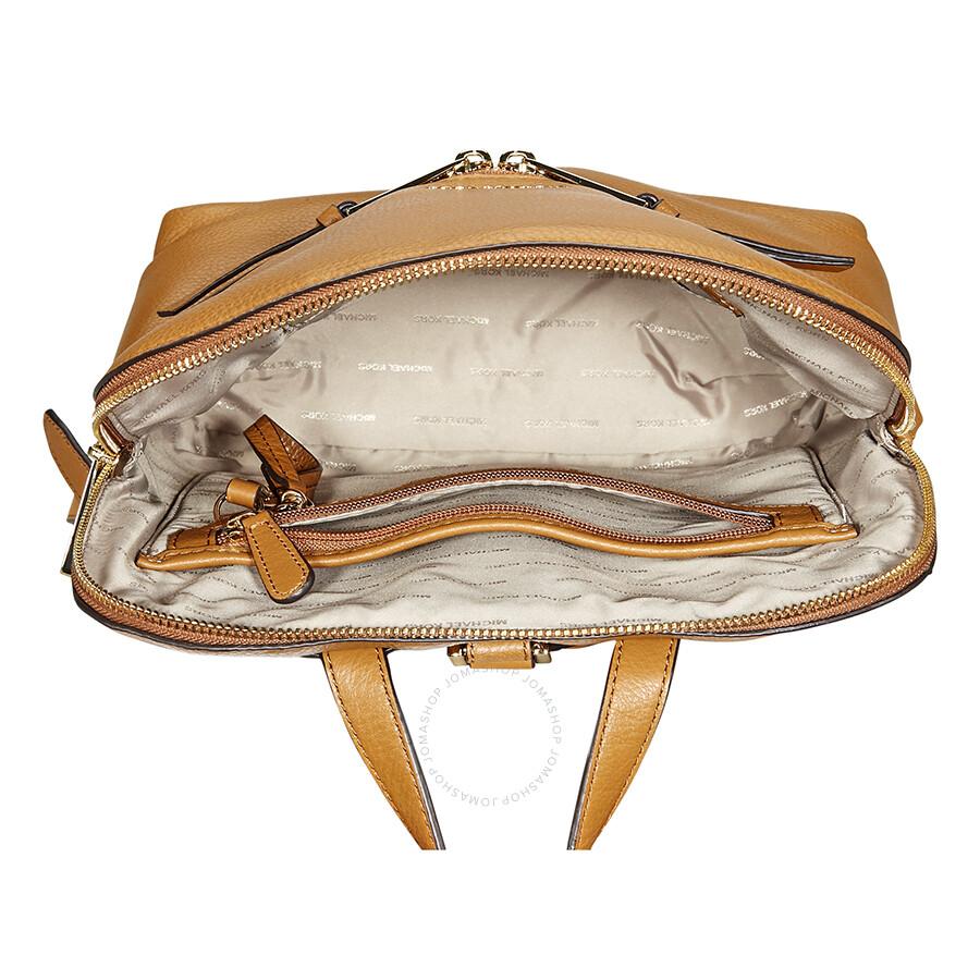 9c617aa641c6 Michael Kors Rhea Medium Slim Leather Backpack- Acorn - Rhea ...