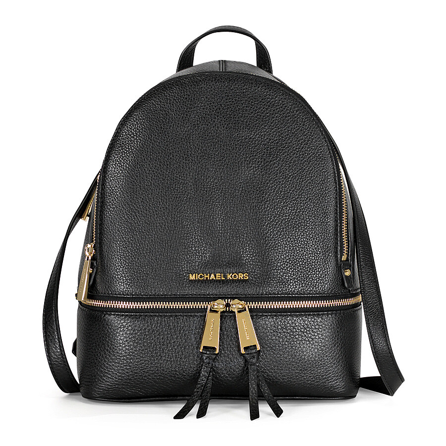 Michael Kors Rhea Medium Leather Backpack - Black - Rhea - Michael Kors Handbags - Handbags ...