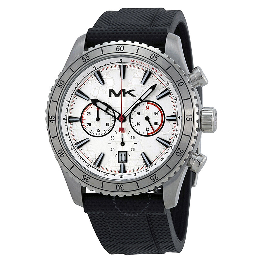Michael kors richardson chronograph silver dial black silicone men 39 s watch mk8353 richardson for Watches michael kors