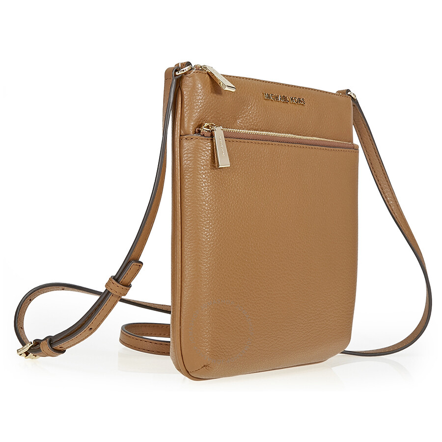 220fdeaae28 Michael Kors Riley Small Flat Leather Crossbody - Acorn - Jomashop