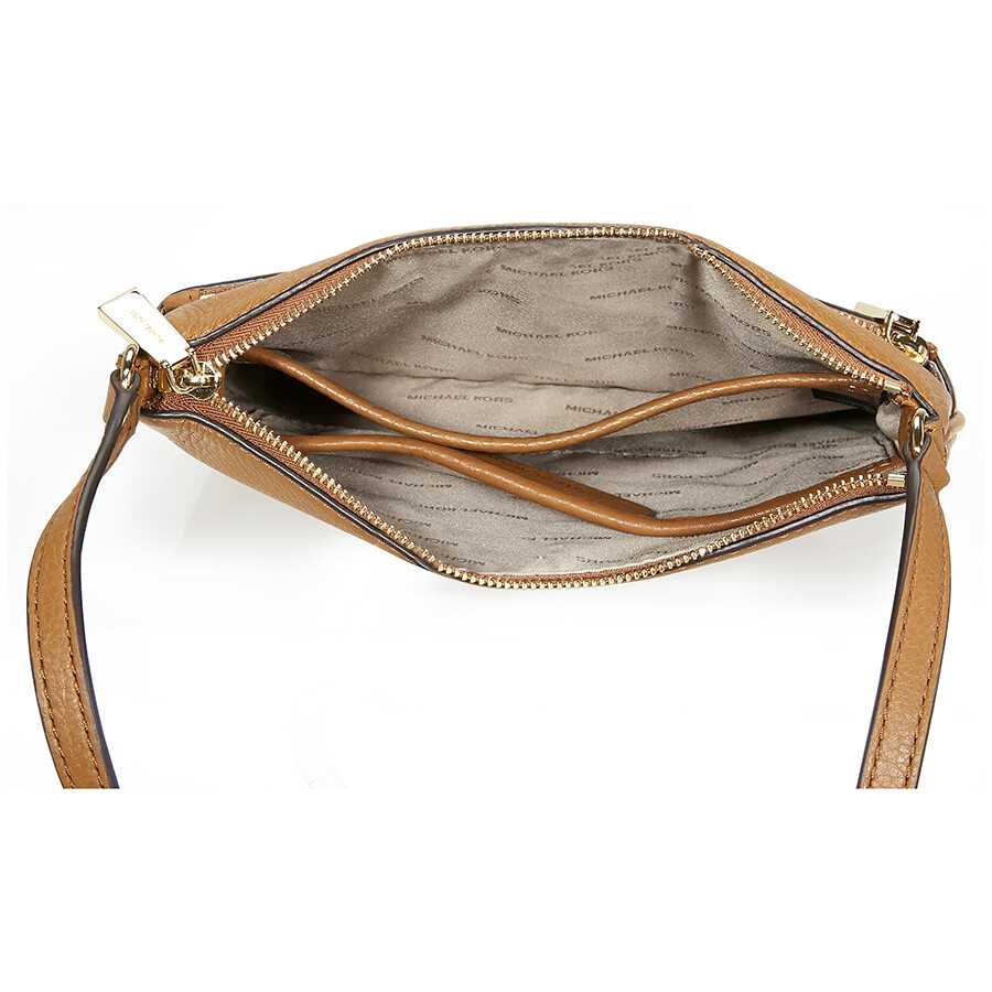 Michael Kors Riley Small Flat Leather Crossbody - Acorn - Jomashop 480dd47cc5fa3