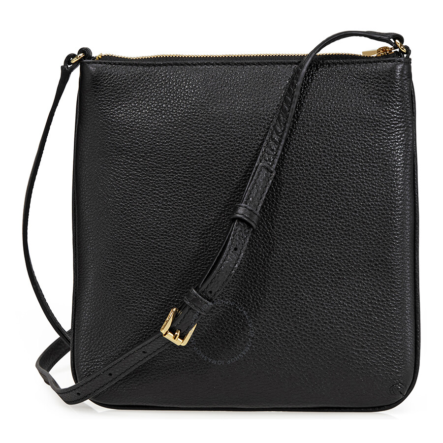 281339a477cf Michael Kors Riley Small Flat Leather Crossbody - Black - Riley ...