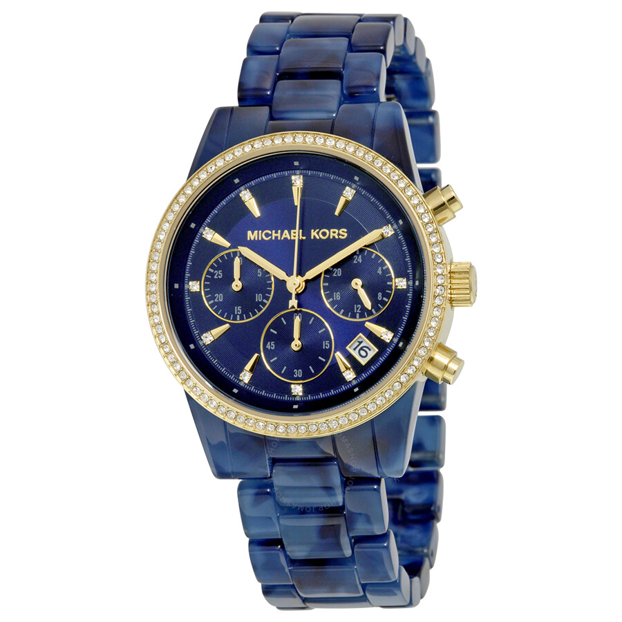 michael kors ritz blue dial chronograph navy tortoise. Black Bedroom Furniture Sets. Home Design Ideas