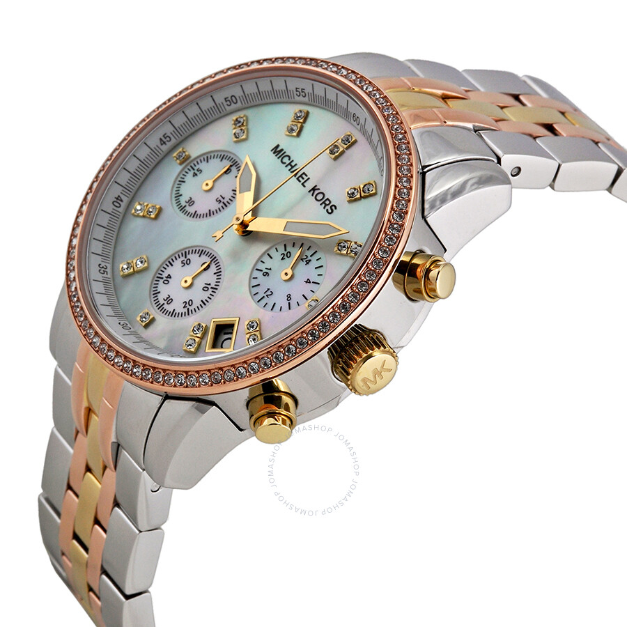 Michael kors ritz chronograph mother of pearl dial tricolor steel ladies watch mk5650 ritz for Mother of pearl dial watch