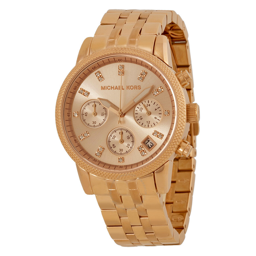 michael kors ritz chronograph rose gold tone dial steel. Black Bedroom Furniture Sets. Home Design Ideas