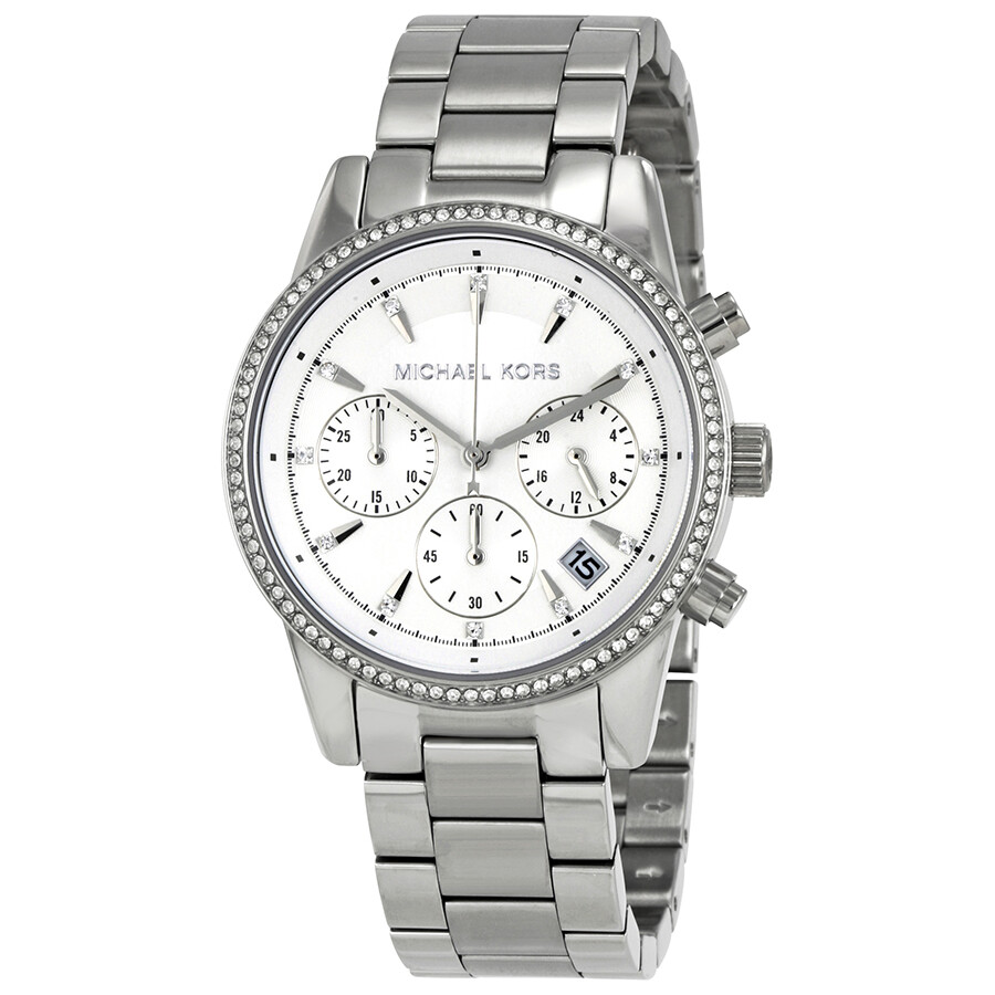 df5b929bf Michael Kors Ritz Chronograph White Dial Ladies Watch MK6428 - Ritz ...
