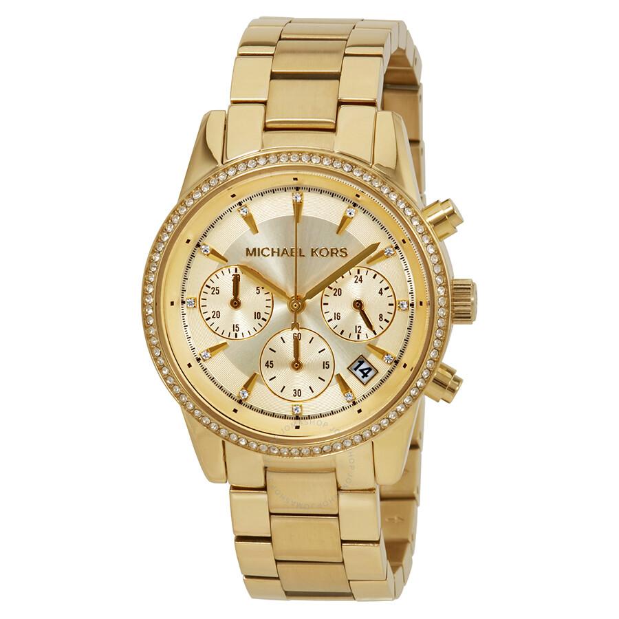 Michael Kors Ritz Chronograph Gold Dial Ladies Watch MK6356