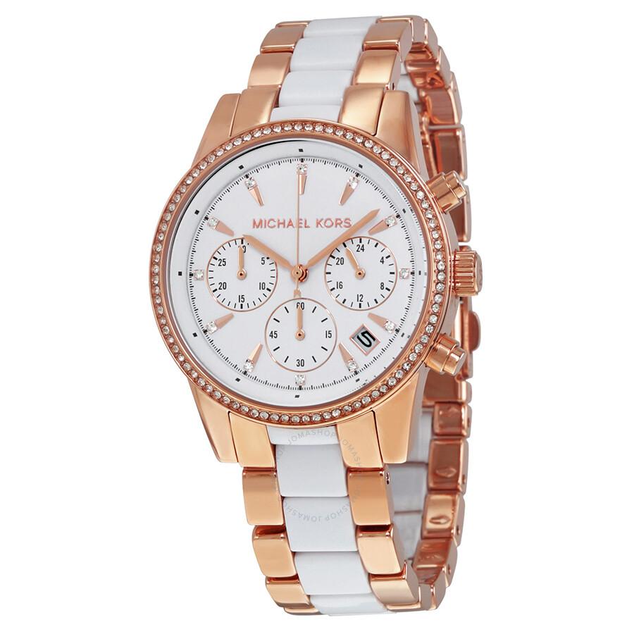 ecee4674bee Michael Kors Ritz Quartz Chronograph White Dial Ladies Watch MK6324 ...