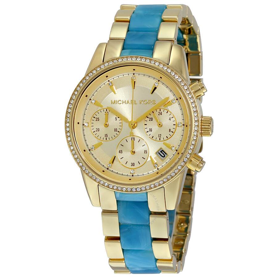 88ed231f9 Michael Kors Ritz Quartz Gold-tone Chronograph Dial Gold-tone Stainless  Steel Ladies Watch ...