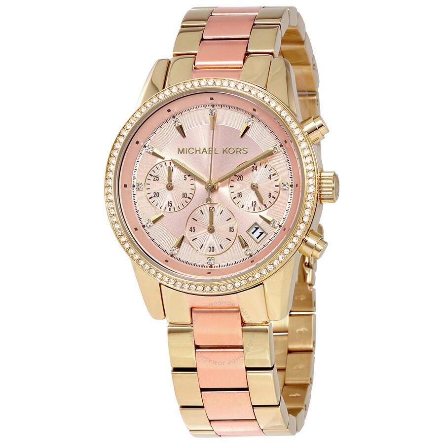 cfef864bb74f Michael Kors Ritz Rose Gold Dial Ladies Chronograph Watch MK6475 ...