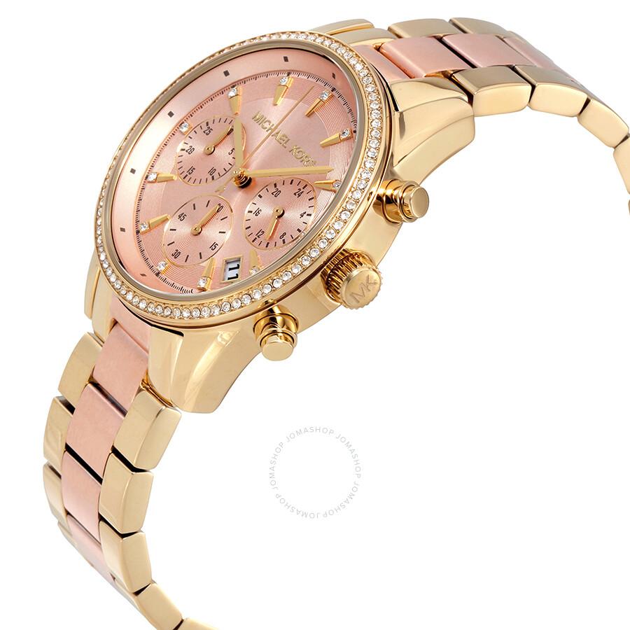 ad933e29189d ... Michael Kors Ritz Rose Gold Dial Ladies Chronograph Watch MK6475 ...
