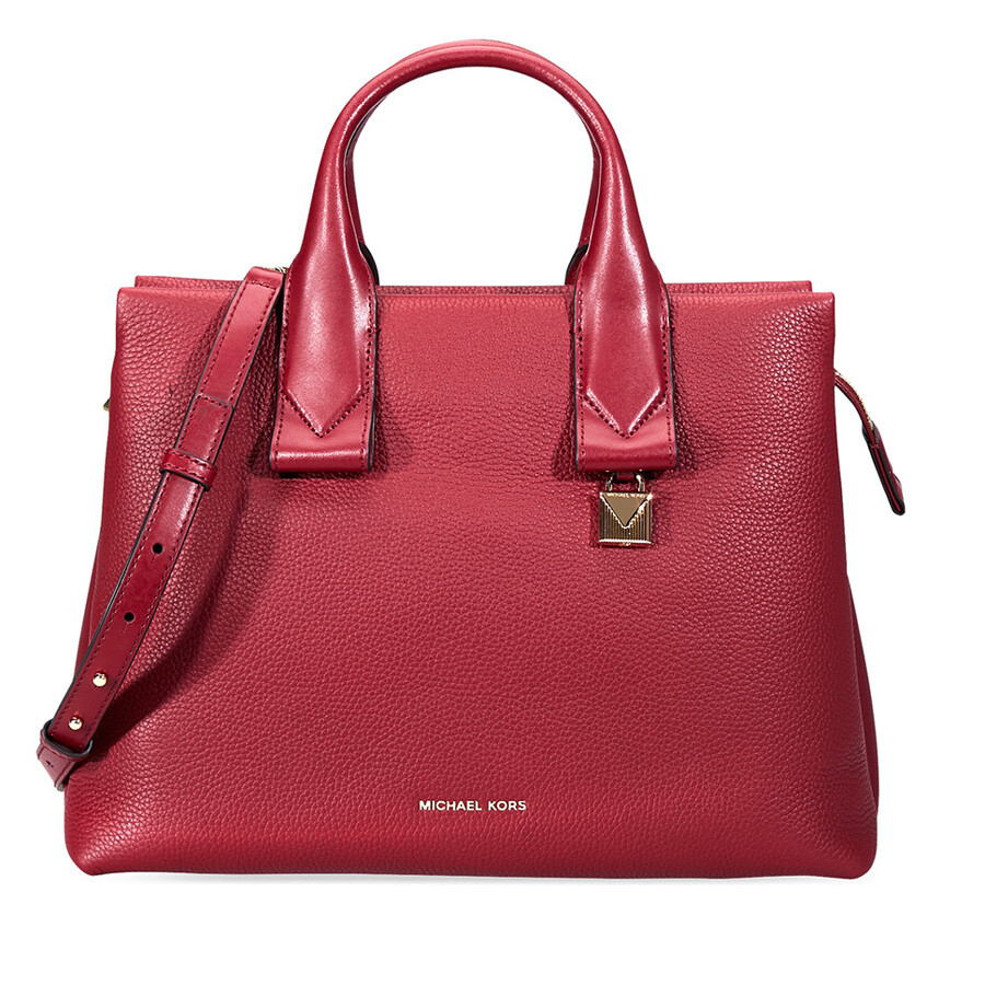 9ba6f37321ad Michael Kors Rollins Large Pebbled Leather Satchel- Maroon Item No.  30F8GX3S3L-550