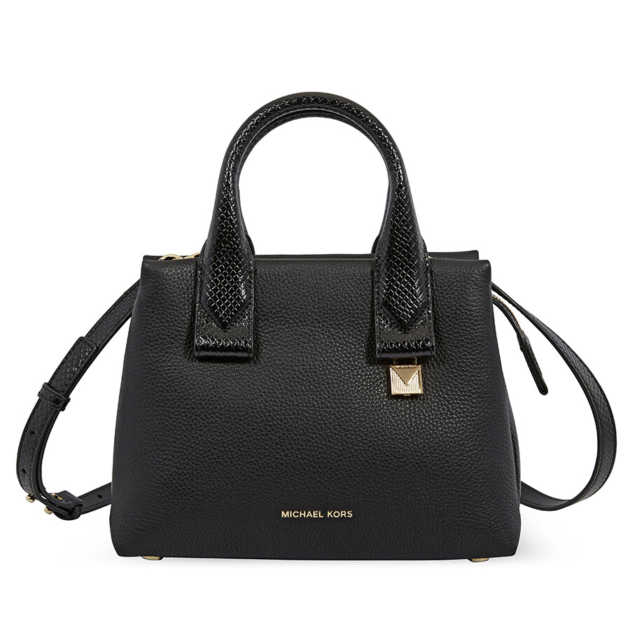 734b163a77a3 Michael Kors Rollins Small Snake-Embossed Leather Satchel- Black ...