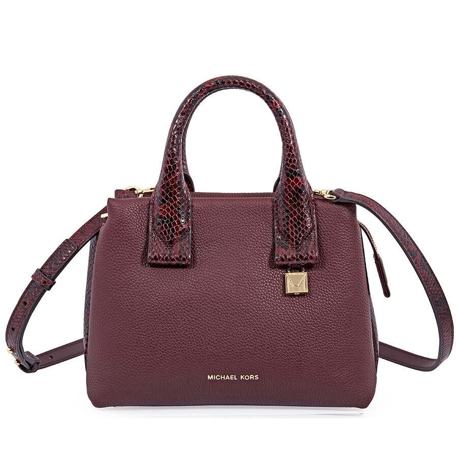 e847af3e8215 Michael Kors Rollins Small Snake-Embossed Leather Satchel- Oxblood Item No.  30F8GX3S1N-610