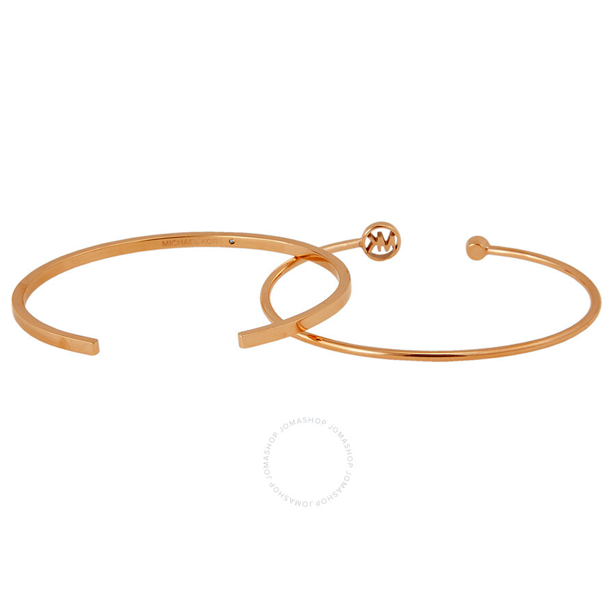 Michael Kors Rose Gold Plated Open Cuff Thin Bracelet Set