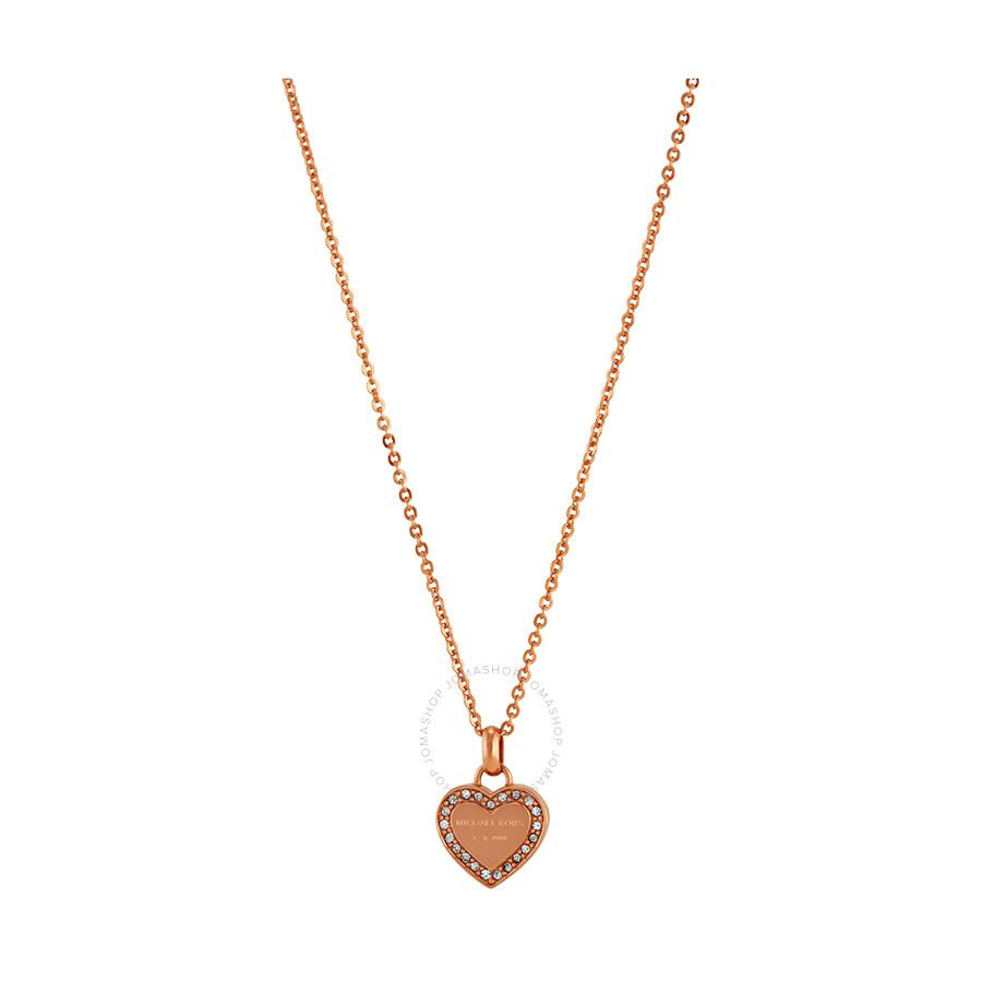 Michael Kors Rose Gold-Tone Heart Pave Necklace MKJ3971791 - Michael ... e6a3c165613d