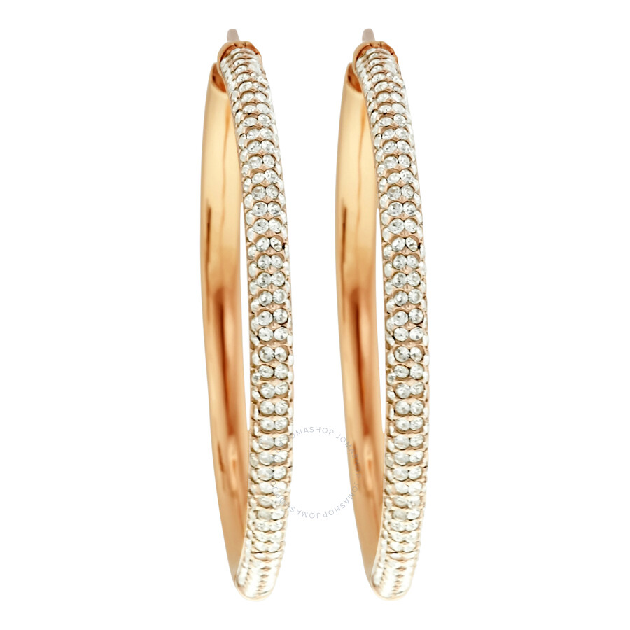 23c39fb53f9aa3 Michael Kors Rose Gold-tone Pave Hoop Earrings MKJ4935791 - Michael ...